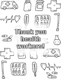 Coloring pages to thank frontline workers